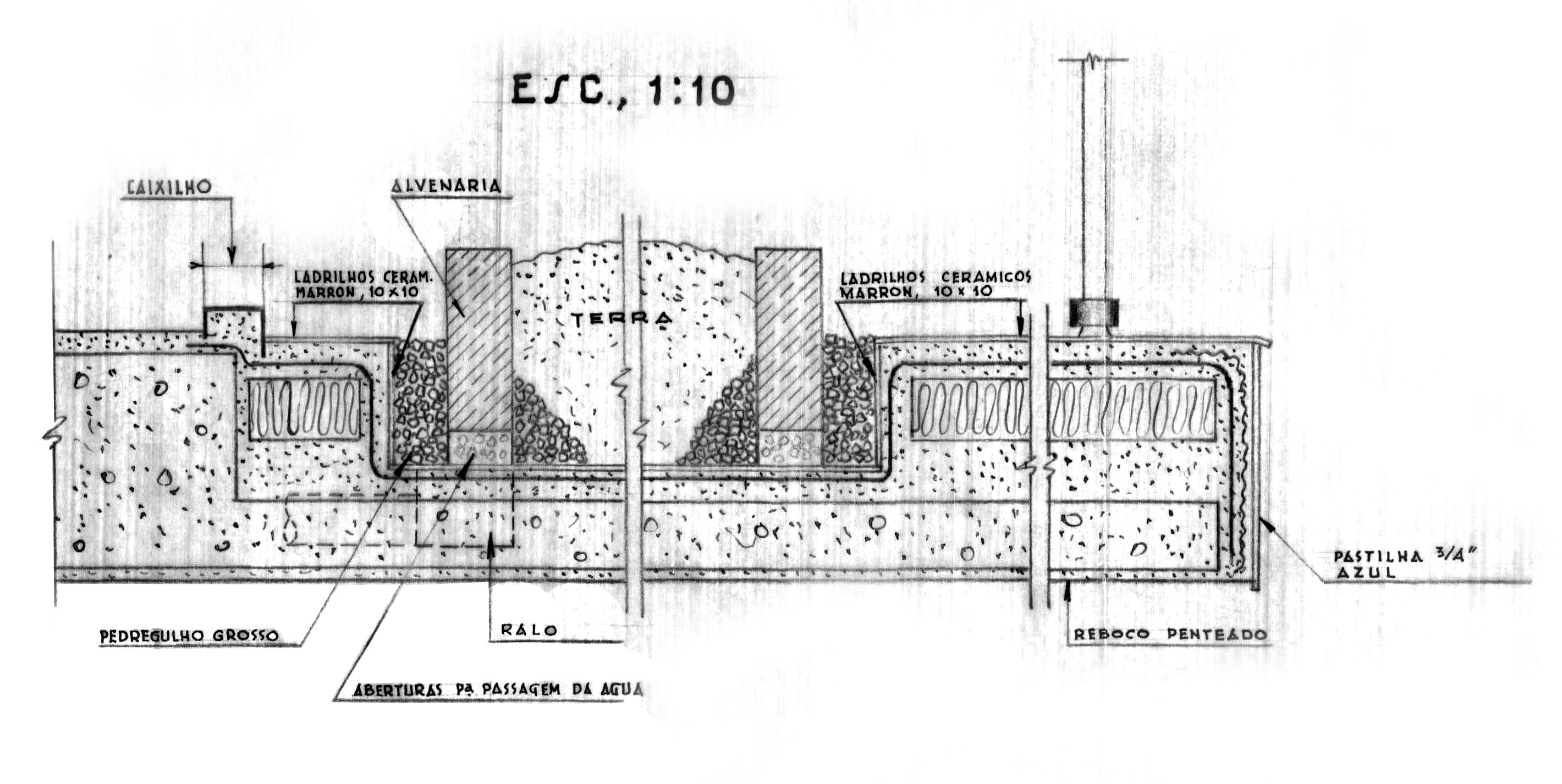 Fig.2. Detalhamento do sistema de captação de águas pluviais, segundo o projeto original (fonte: acervo FAUUSP)