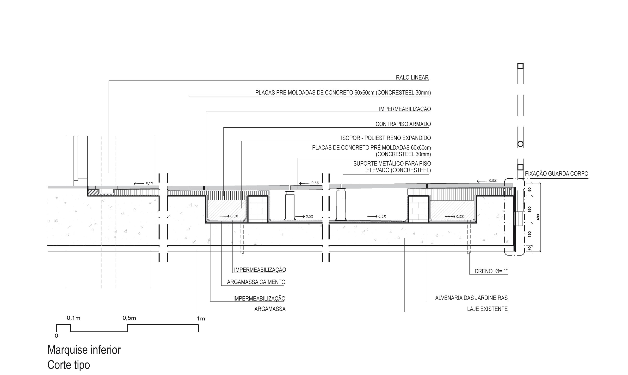 Fig.6. Detalhe das soluções de restauro para o piso da marquise inferior (fonte: acervo Metrópole Arquitetos)