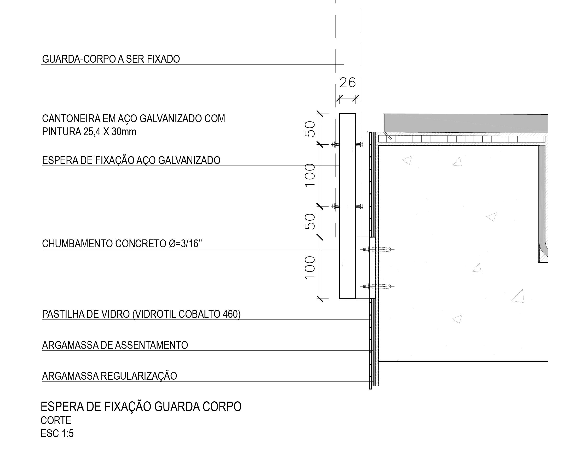 Fig.6. Detalhe da fixação do guarda-corpo (fonte: acervo Metrópole Arquitetos)