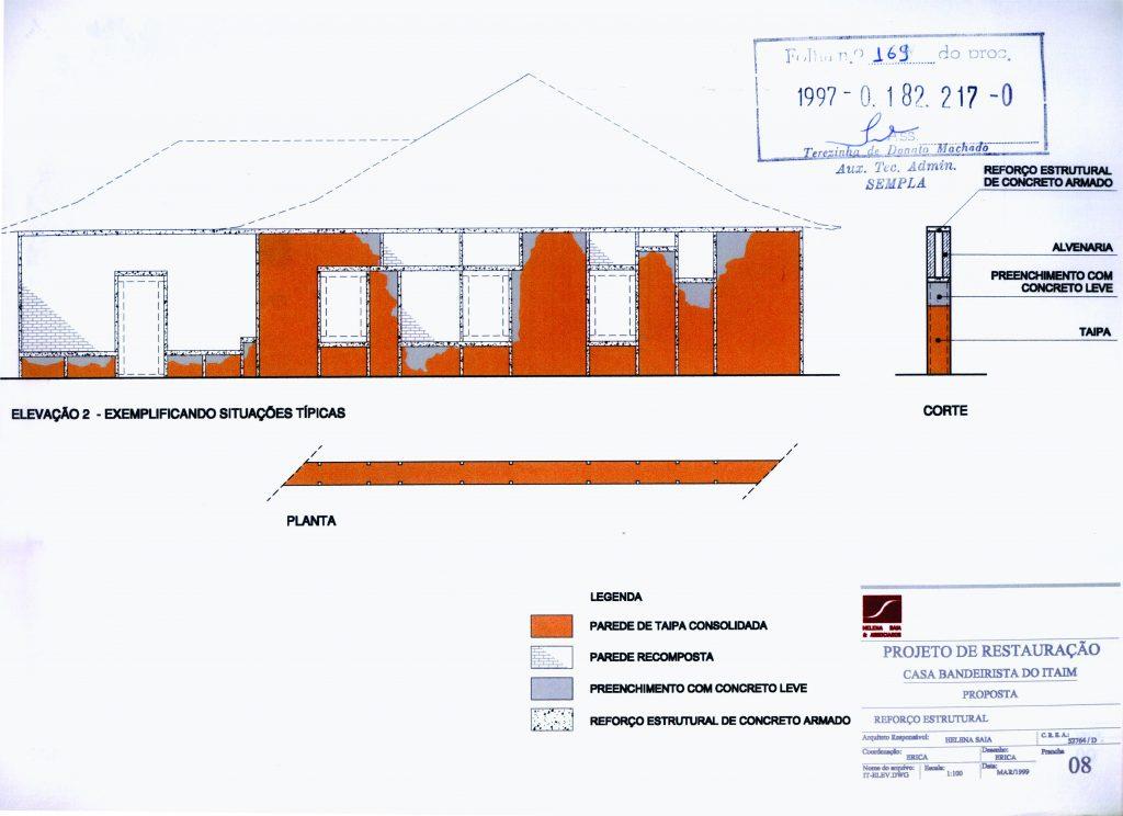 Fig.1 e 2. Desenhos mostrando o esqueleto de concreto armado e o esquema de preenchimento de lacunas da taipa (fonte: processo 1997-0.182.217-0).