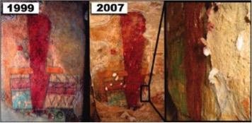 Fig. 3 – Templo de los Nichos Pintados enMayapan (Yucatan). Danos causados pelo revestimento de acetato polivinílico, aplicado em 1999. Fonte: R. Giorgi, M. Baglioni, D. Berti, P. Baglioni, AccChem Res (2010), 43, 695.