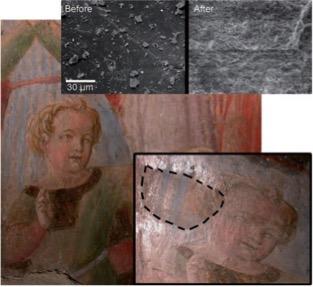 Fig. 4– Limpeza de pintura mural microemulsão. Remoção de capa de polímero resultante de antigas restaurações (Sacristia de Santa Maria della Scala, Siena, Itália). Fonte: E. Carretti, E. Fratini, D. Berti, L. Dei, P. Baglioni, AngewChem (2009) 48, 8966.